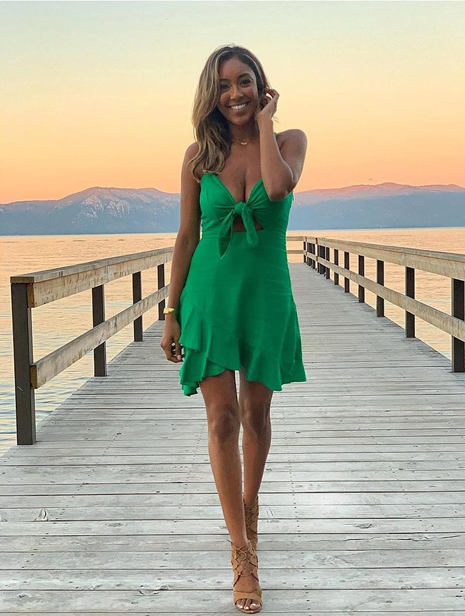"""<p>Before she was <a href=""""https://people.com/tv/bachelorette-tayshia-adams-on-finding-her-person-in-fiance-zac-clark/"""" rel=""""nofollow noopener"""" target=""""_blank"""" data-ylk=""""slk:engaged to Zac Clarke"""" class=""""link rapid-noclick-resp"""">engaged to Zac Clarke</a>, this <em>Bachelorette</em> was posing solo in Tahoe! """"Dreamy Lake Sunsets,"""" the California-native captioned <a href=""""https://www.instagram.com/p/B0NDgKIFUO4/?hl=en"""" rel=""""nofollow noopener"""" target=""""_blank"""" data-ylk=""""slk:this photo"""" class=""""link rapid-noclick-resp"""">this photo</a> from summer 2019. </p>"""