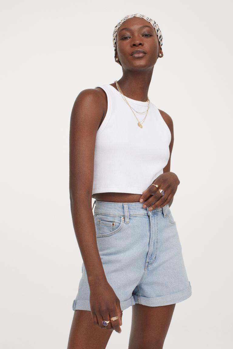 <p>You can rock the <span>H&amp;M Mom Ultra High Denim Shorts</span> ($20) with pretty much anything.</p>