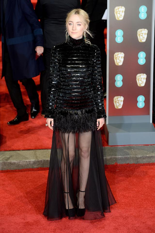 <p>The Irish-American star opted for an usual Chanel look: a heavy top teamed with a sheer skirt. <em>[Photo: Getty]</em> </p>