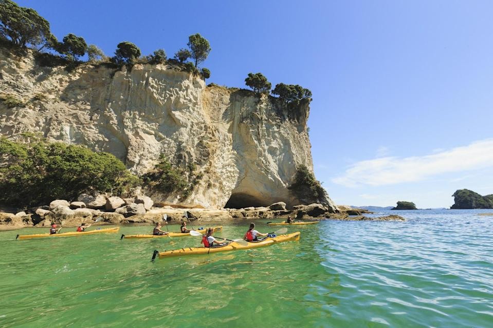 """<p><span>Feel your troubles float away as you paddle through the crystal clear waters in Abel Tasman National Park, New Zealand. A guided kayaking tour takes in the majestic beauty of the fiords around Auckland's Hauraki Gulf, and there's plenty of fresh water kayaking in the Whanganui River. For a thrill, head to the whitewater of the Rangitaiki or the Clutha. A one-day, guided tour with </span><a href=""""http://www.tka.co.nz/"""" rel=""""nofollow noopener"""" target=""""_blank"""" data-ylk=""""slk:Taupo Kayaking Adventures"""" class=""""link rapid-noclick-resp""""><span>Taupo Kayaking Adventures</span></a><span> costs from £138 ($244). [Photo: Taupo Kayaking Adventures]</span> </p>"""