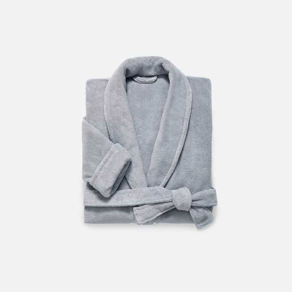 """<h3><a href=""""https://www.brooklinen.com/products/super-plush-robe"""" rel=""""nofollow noopener"""" target=""""_blank"""" data-ylk=""""slk:Brooklinen Super-Plush Robe"""" class=""""link rapid-noclick-resp"""">Brooklinen Super-Plush Robe</a></h3><br>Crafted with a piped collar, cuffed sleeves, and deep pockets — out of the same long-staple Turkish cotton as the brand's bestselling towels — this """"Super-Plush"""" robe will cloak her in a luxurious 380-GSM weight.<br><br>Reviews on it range from a simple, """"Best robe ever,"""" to an extreme, """"Do not get this if you have a job/lifestyle where you need to put on real clothes. You will never want to get out of this. It is so soft. So warm. So comfy! I have taken up showering 2x plus daily just so I have an excuse to get into it. I love it."""" <br><br><strong>Brooklinen</strong> Super-Plush Robe, $, available at <a href=""""https://go.skimresources.com/?id=30283X879131&url=https%3A%2F%2Fwww.brooklinen.com%2Fproducts%2Fsuper-plush-robe%3Fvariant%3D15415412129882"""" rel=""""nofollow noopener"""" target=""""_blank"""" data-ylk=""""slk:Brooklinen"""" class=""""link rapid-noclick-resp"""">Brooklinen</a>"""