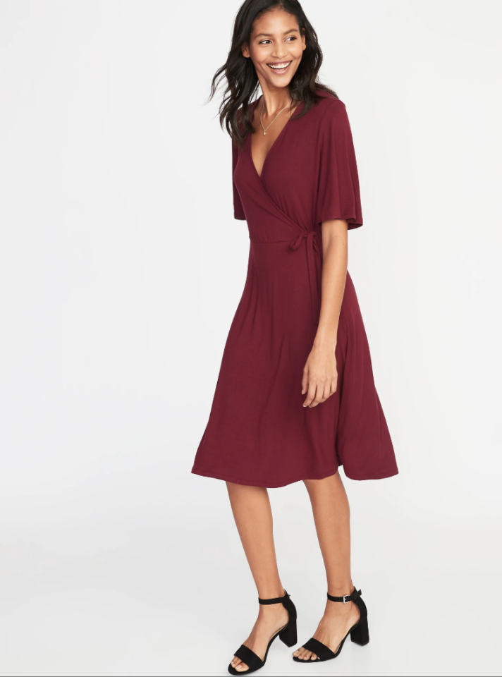 "<p>A beautiful burgundy wrap dress that is flattering and feminine.<br /><strong><a rel=""nofollow"" href=""https://fave.co/2VXEK07"">Shop it:</a> </strong>$24 (was $37), <a rel=""nofollow"" href=""https://fave.co/2VXEK07"">oldnavy.com</a> </p>"