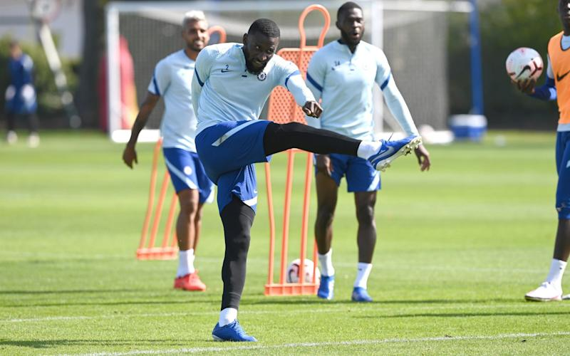 Antonio Rudiger of Chelsea during a training session at Chelsea Training Ground - Getty Image