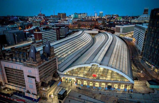 An aerial image of Liverpool Lime Street station