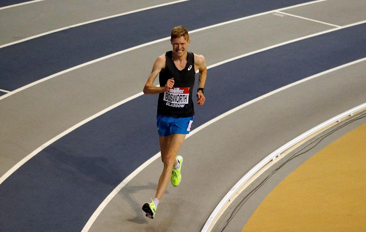 Athletics - Glasgow Indoor Grand Prix - Emirates Arena, Glasgow, Britain - February 25, 2018   Great Britain's Tom Bosworth in action during the men's 3000m walk in which he set a new indoor world record   Action Images via Reuters/Lee Smith