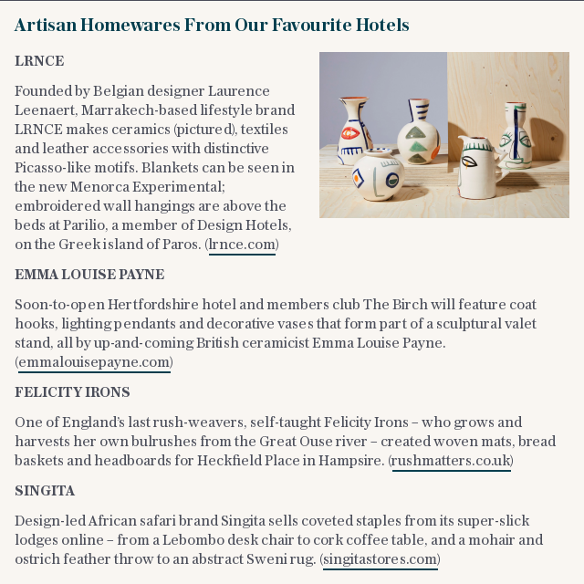Artisan Homewares From Our Favourite Hotels