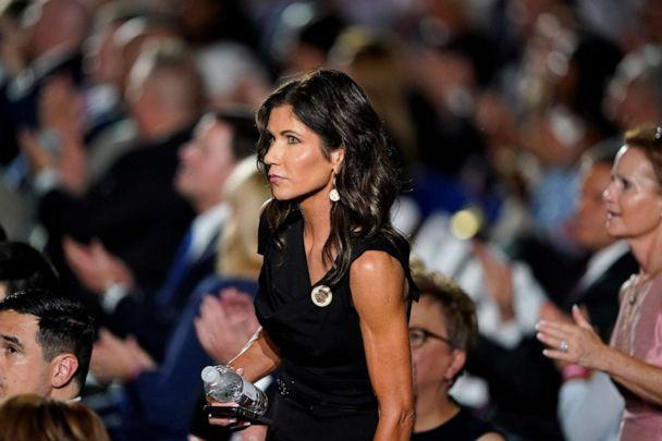 PHOTO: South Dakota Gov. Kristi Noem stands in the crowd on the South Lawn of the White House during the fourth day of the Republican National Convention in Washington, Aug. 27, 2020. (Alex Brandon/AP, FILE)