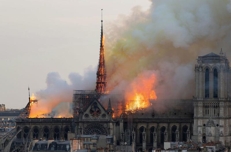 The blaze destroyed part of the historic cathedral on Tuesday (Getty)