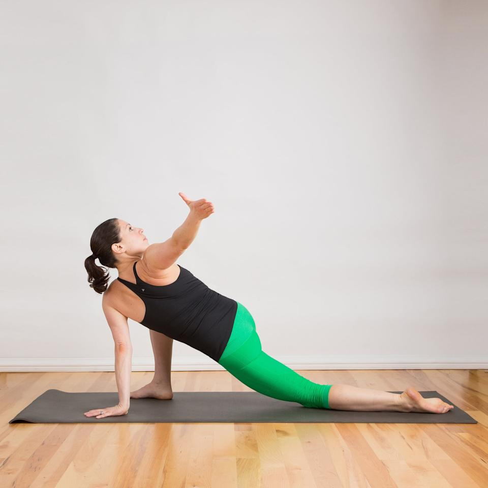 <ul> <li>From Low Crescent Lunge, rest your left hand on the mat underneath your shoulder.</li> <li>Raise your right arm into the air and twist to the right, gazing behind you, enjoying this pose for five breaths.</li> </ul>