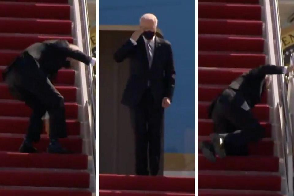 biden scivola air force one