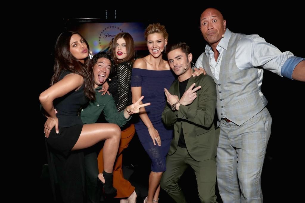 <p>LAS VEGAS, NV – MARCH 28: (L-R) Actors Priyanka Chopra, Jon Bass, Alexandra Daddario, Kelly Rohrbach, Zac Efron and Dwayne Johnson at CinemaCon 2017 Paramount Pictures Presentation Highlighting Its Summer of 2017 and Beyond at The Colosseum at Caesars Palace during CinemaCon, the official convention of the National Association of Theatre Owners, on March 28, 2017 in Las Vegas, Nevada. (Photo by Todd Williamson/Getty Images for CinemaCon) </p>