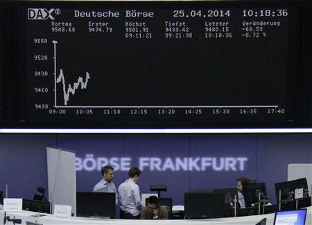 The curve of the German share price index DAX board is pictured at the Frankfurt stock exchange April 25, 2014. REUTERS/Remote/Stringer