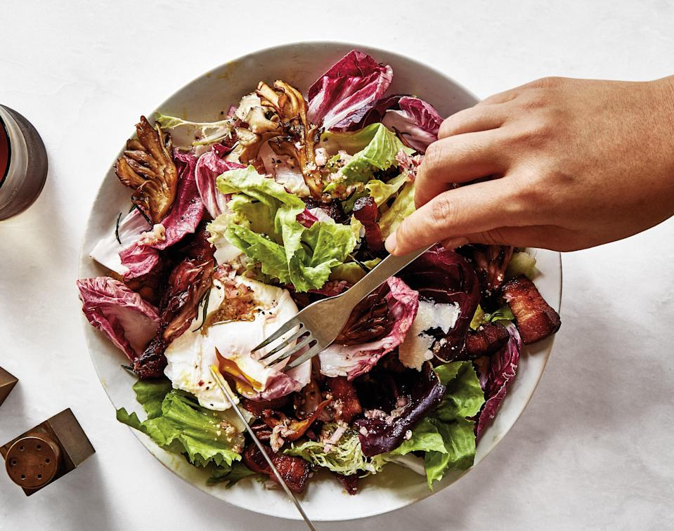 """<a href=""""https://www.bonappetit.com/recipe/chicory-bacon-and-poached-egg-salad?mbid=synd_yahoo_rss"""" rel=""""nofollow noopener"""" target=""""_blank"""" data-ylk=""""slk:See recipe."""" class=""""link rapid-noclick-resp"""">See recipe.</a>"""