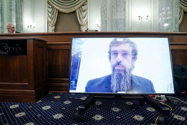 PHOTO: Twitter CEO Jack Dorsey appears on a monitor as he testifies remotely during a Senate hearing to discuss reforming Section 230 of the Communications Decency Act with big tech companies, on Capitol Hill, Oct. 28, 2020 in Washington. (Greg Nash/AP)