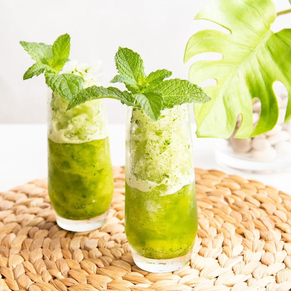 <p>This frozen blender cocktail pays homage to the classic Cuban mojito cocktail, a refreshing blend of mint, limes, sugar and rum. This easy-breezy sipper is easy to make for 2 people in minutes.</p>