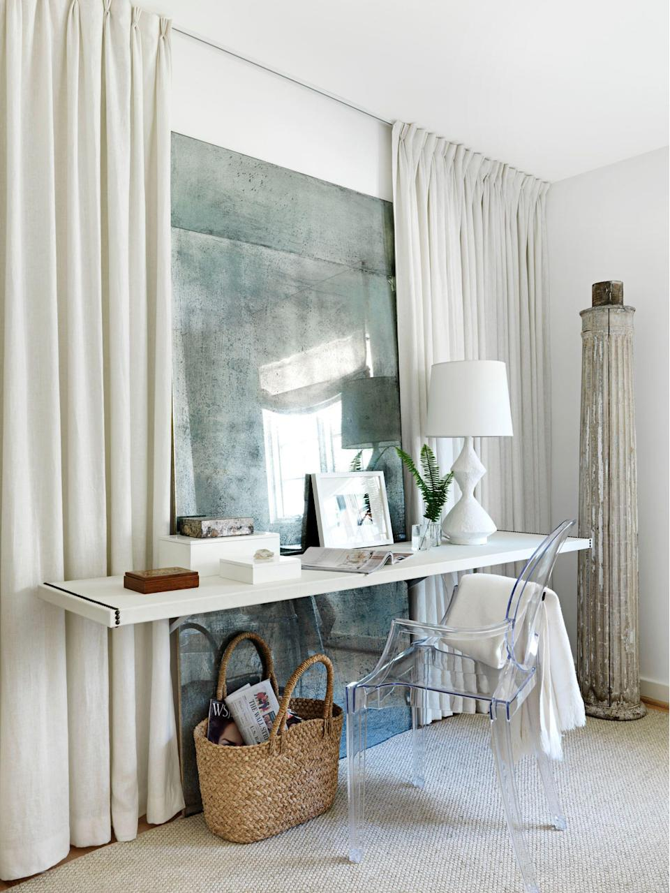 """<p>Controversial opinion, perhaps, but someone needs to break it to Virginia Woolf: You <a href=""""https://www.housebeautiful.com/room-decorating/home-library-office/g36317886/small-office-ideas/"""" rel=""""nofollow noopener"""" target=""""_blank"""" data-ylk=""""slk:don't need a room"""" class=""""link rapid-noclick-resp"""">don't need a room</a> of one's own to achieve work-from-home success; you just need a <a href=""""https://www.housebeautiful.com/shopping/furniture/g27356139/best-desks-for-small-spaces/"""" rel=""""nofollow noopener"""" target=""""_blank"""" data-ylk=""""slk:desk"""" class=""""link rapid-noclick-resp"""">desk</a>. And while we'd all love to enjoy the spacial luxury she did, even those with a spare room for studying, emailing, taking meetings, getting creative, or strategizing know that the real key to productivity is having a surface space to work on (i.e. a desk). If you have to make do with working in an unused bedroom or living room corner—or you're trying to figure out how to make your eat-in kitchen or dining room moonlight as an <a href=""""https://www.housebeautiful.com/room-decorating/home-library-office/g35715761/modern-home-offices/"""" rel=""""nofollow noopener"""" target=""""_blank"""" data-ylk=""""slk:office"""" class=""""link rapid-noclick-resp"""">office</a>—you're in luck. We scoured the best designer portfolios to come up with 15 DIY desk and home office ideas that will allow you to turn any room into an ace workspace. From clever repurposing ideas to easy DIY tips, the makeshift desks ahead get the job done.</p>"""