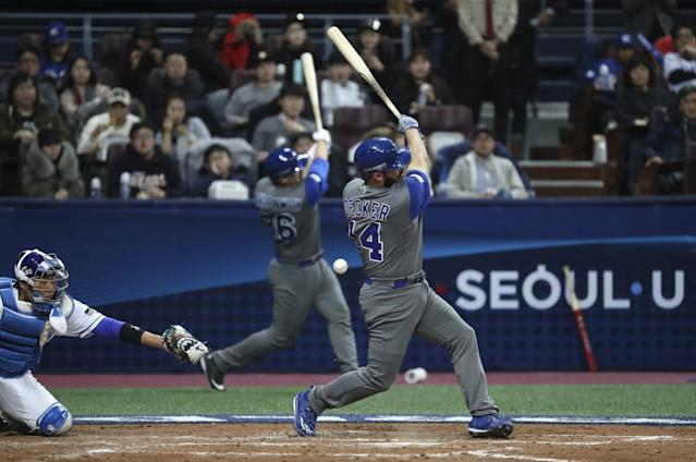 Cody Decker has brought personality to Team Israel. (AP)