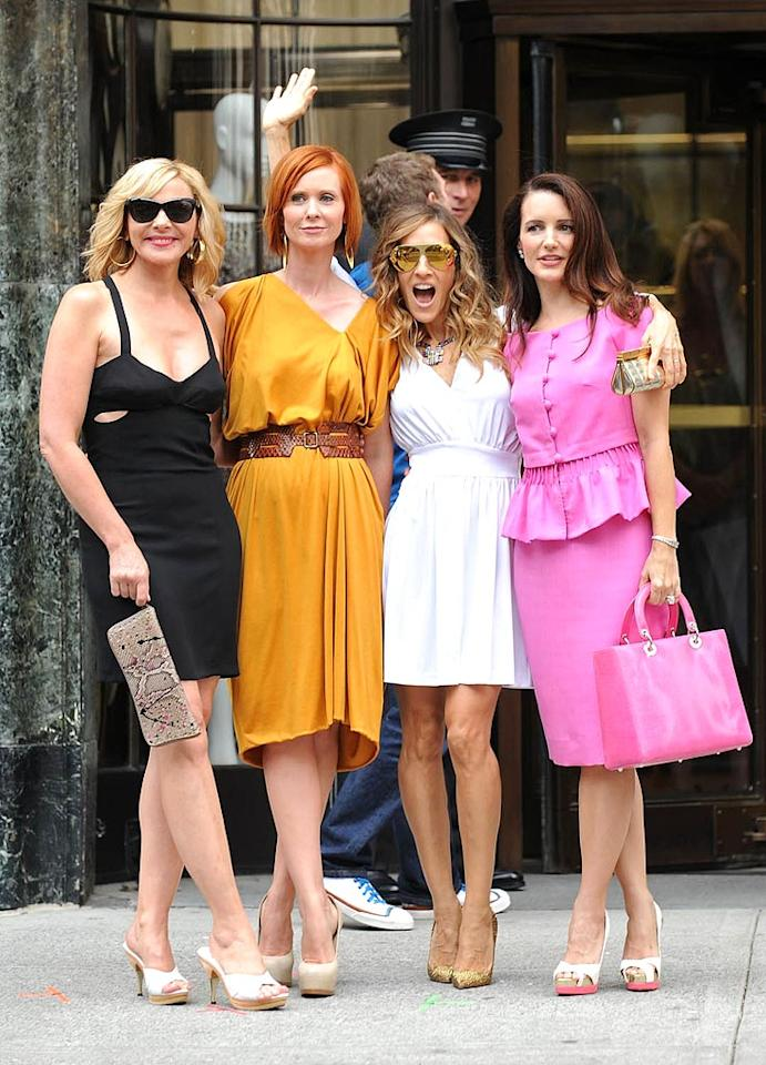 """A third 'Sex and the City' film will begin shooting soon!"" declares Perez Hilton, who explains, ""The reason behind the rush is to get the third movie done before the gals -- Kim Cattrall, Kristin Davis, Cynthia Nixon and Sarah Jessica Parker -- look too old!"" Generally, ""premature"" and ""sex"" are words <a href=""http://www.gossipcop.com/perez-hilton-is-quite-a-bit-premature-with-sex-and-the-city/"" target=""new"">Gossip Cop</a> never utters in the same sentence, but we'll make an exception here. There are absolutely no plans yet for a threequel. James Devaney/<a href=""http://www.wireimage.com"" target=""new"">WireImage.com</a> - September 8, 2009"