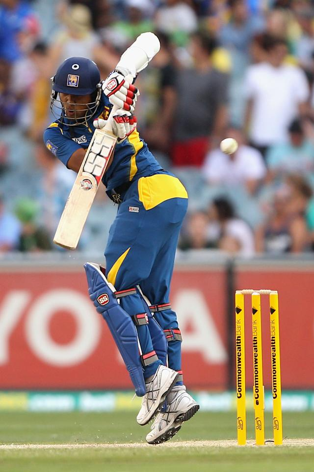 MELBOURNE, AUSTRALIA - JANUARY 11:  Dinesh Chandimal of Sri Lanka plays a shot during game one of the Commonwealth Bank One Day International series between Australia and Sri Lanka at Melbourne Cricket Ground on January 11, 2013 in Melbourne, Australia.  (Photo by Robert Prezioso/Getty Images)