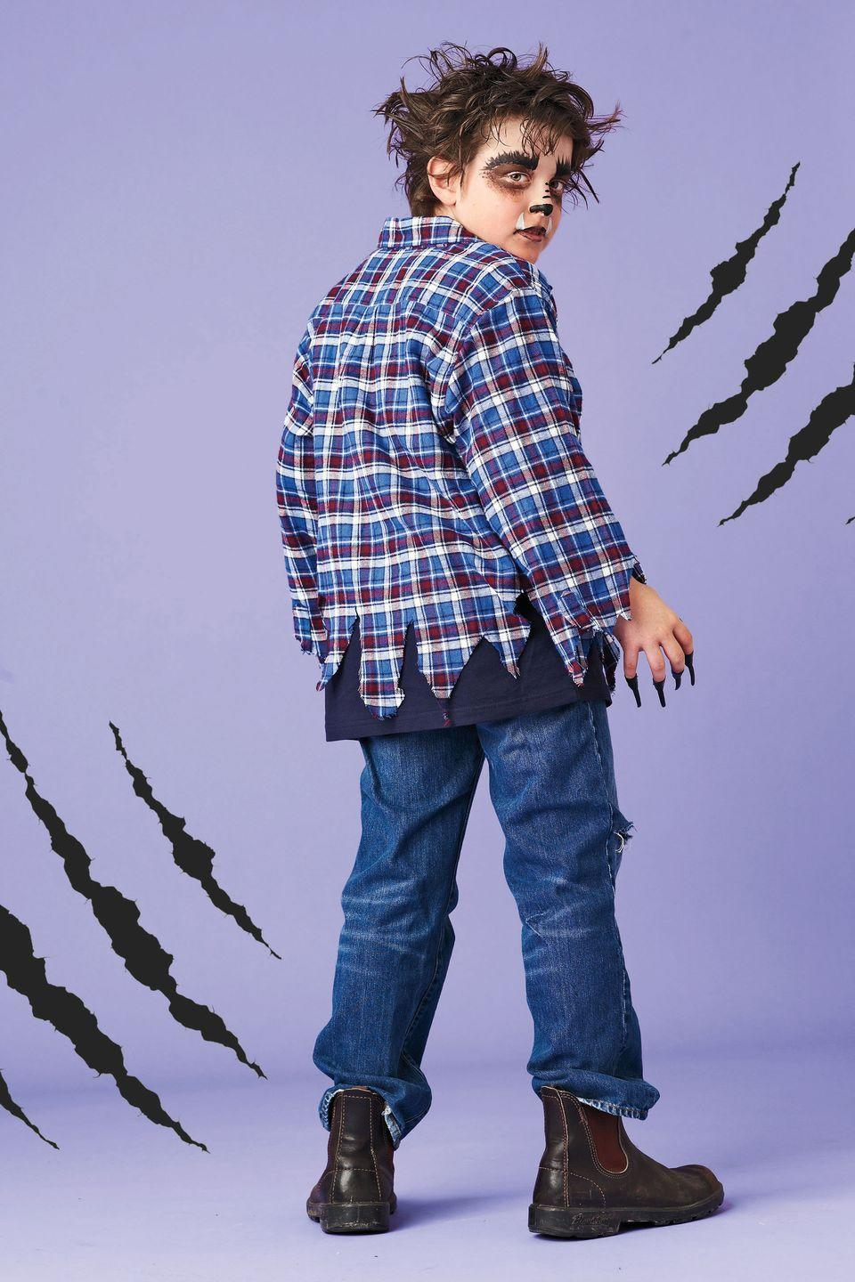 """<p>Tatter an old plaid shirt to complete the look for this shapeshifting character.</p><p><strong><em><a href=""""https://www.womansday.com/home/crafts-projects/how-to/a5248/halloween-costume-how-to-wandering-wolfman-110895/"""" rel=""""nofollow noopener"""" target=""""_blank"""" data-ylk=""""slk:Get the Werewolf tutorial."""" class=""""link rapid-noclick-resp"""">Get the Werewolf tutorial.</a></em></strong></p>"""