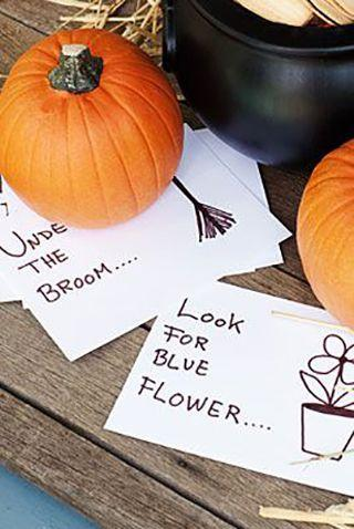"""<p>It only takes a handful materials to create these Halloween scavenger hunt cards and a couple of healthy treats to keep the kids entertained for the rest of the afternoon.</p><p><em><strong><a href=""""https://www.womansday.com/home/crafts-projects/how-to/a5156/halloween-craft-how-to-scavenger-hunt-clues-110822/"""" rel=""""nofollow noopener"""" target=""""_blank"""" data-ylk=""""slk:Get the Halloween Scavenger Hunt tutorial"""" class=""""link rapid-noclick-resp"""">Get the Halloween Scavenger Hunt tutorial</a>.</strong></em></p>"""