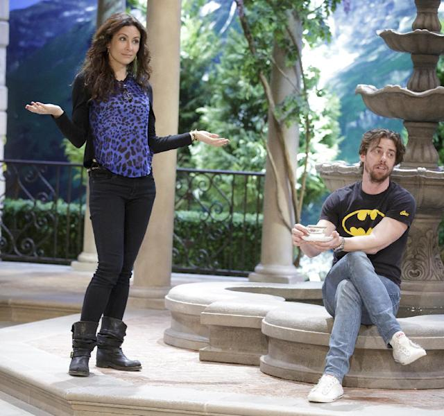 """This image released by NBC shows actors Laura Benanti, who portrays Baroness Elsa Schrader, left, and Christian Borle, who portrays Max Detweiler, during a rehearsal for """"The Sound of Music Live!, in Bethpage, N.Y. The live production airs on Dec. 5 at 8 p.m. EST. (AP Photo/NBC, Paul Drinkwater)"""