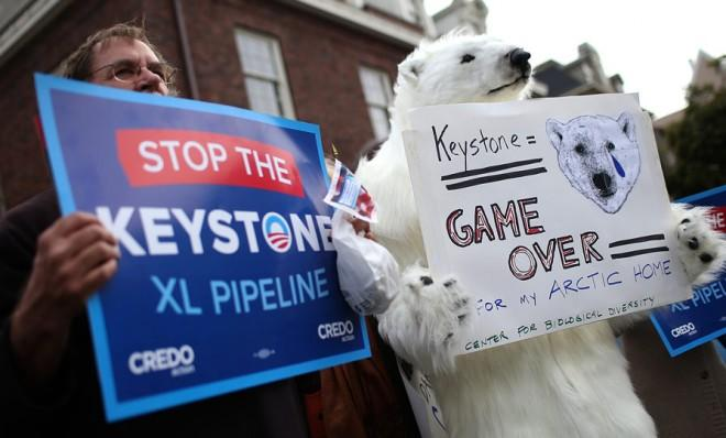 Demonstrators protest the Keystone Pipeline on April 3 in San Francisco.
