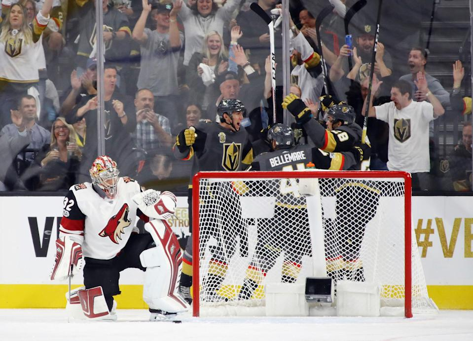 <p>Once things got underway, it didn't take long for the Golden Knights to bring the fans to their feet, as Tomas Nosek scored the first regular-season goal in Las Vegas at 2:31 of the first period. (Bruce Bennett/Getty Images) </p>