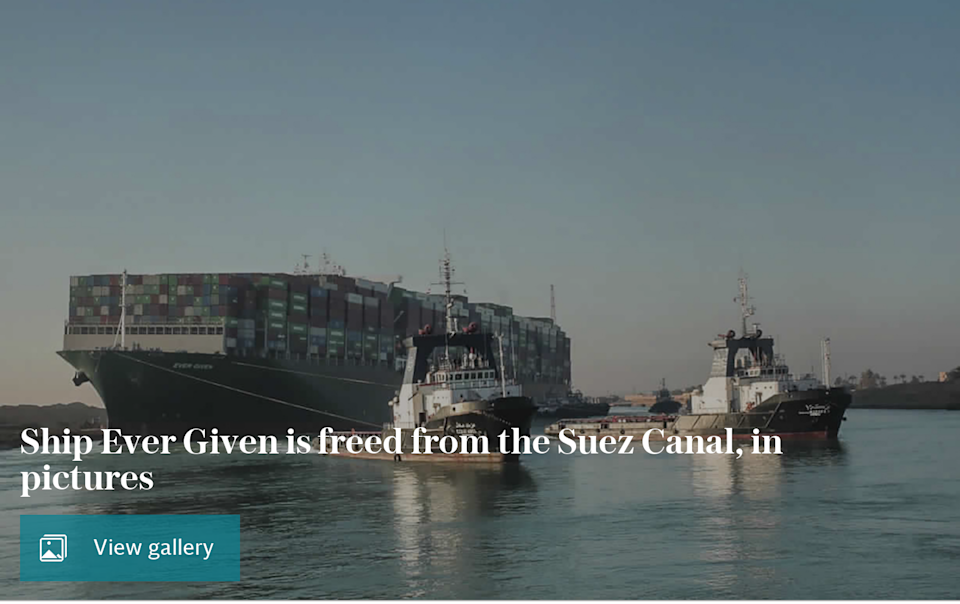 Ship Ever Given is freed from the Suez Canal, in pictures