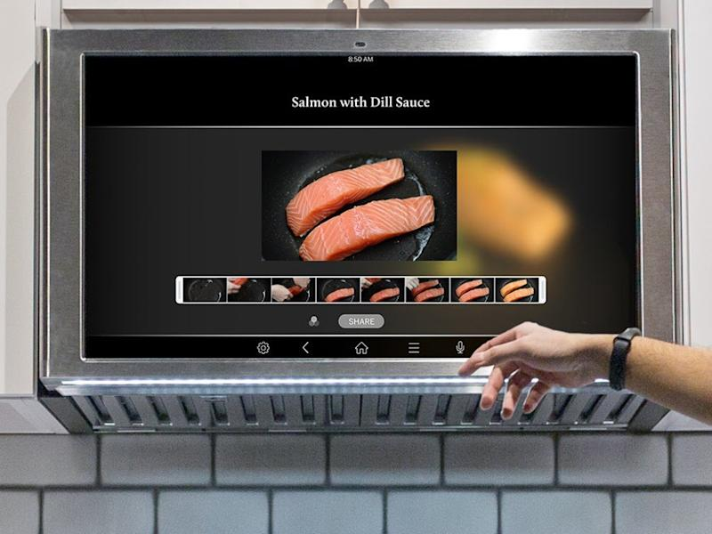 The new GE Kitchen Hub, which rests comfortably above the stove top.