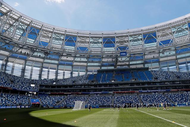 Soccer Football - World Cup - Sweden Training - Nizhny Novgorod Stadium, Nizhny Novgorod, Russia - June 17, 2018 General view during training REUTERS/Carlos Barria
