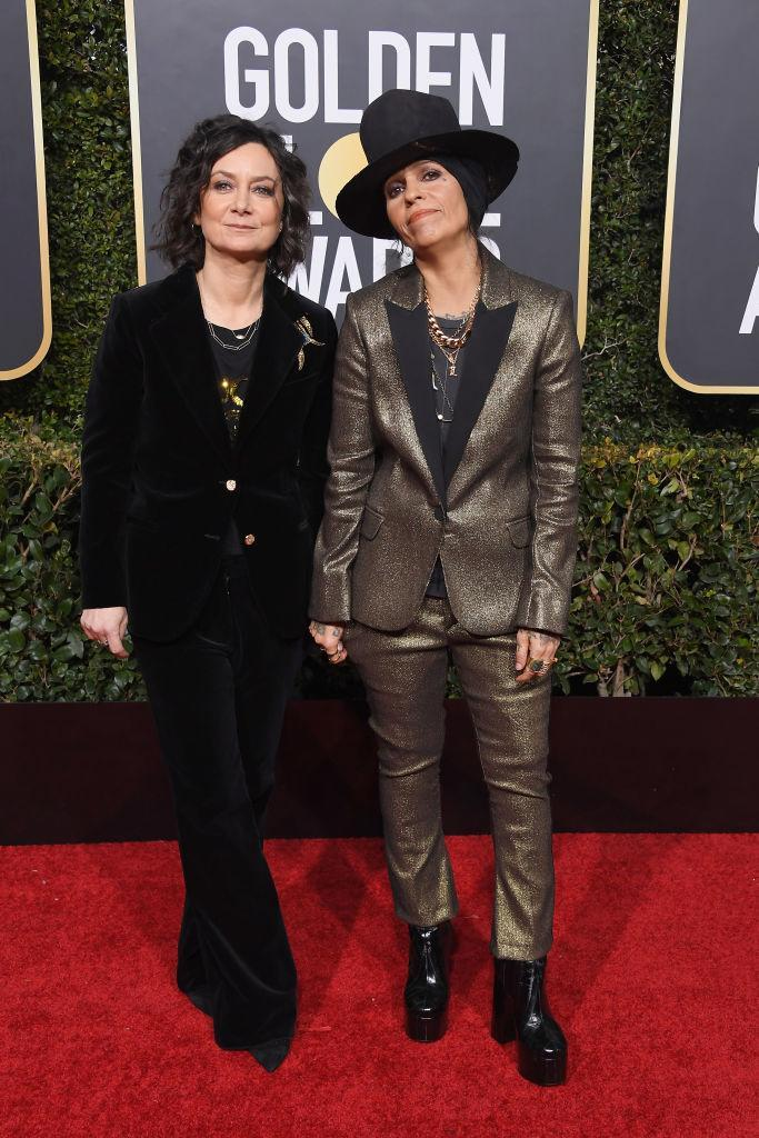 <p>Sara Gilbert, left, and Linda Perry attend the 76th Annual Golden Globe Awards at the Beverly Hilton Hotel in Beverly Hills, Calif., on Jan. 6, 2019. (Photo: Getty Images) </p>