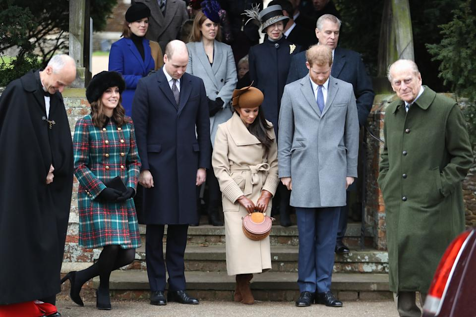 All eyes were on the fab four of the Duke and Duchess of Cambridge, Meghan Markle and Prince Harry at Christmas Day Church service in 2017. (Chris Jackson/Getty Images)