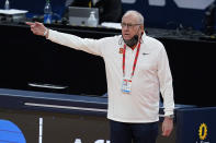 Syracuse head coach Jim Boeheim argues a call during the first half of a second-round game against West Virginia in the NCAA men's college basketball tournament at Bankers Life Fieldhouse, Sunday, March 21, 2021, in Indianapolis. (AP Photo/Darron Cummings)