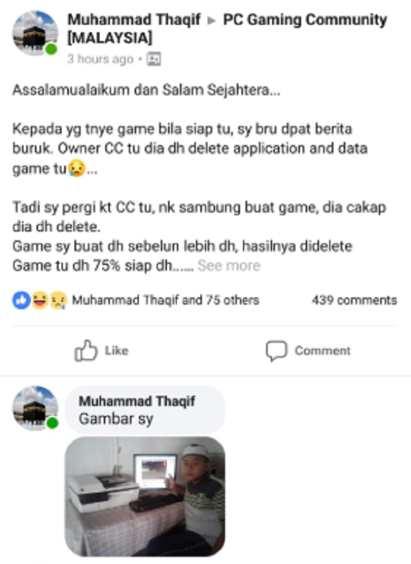A screen capture showing Muhammad Thaqif's post on Facebook highlighting his plight. – Screen capture via Twitter/Qhairilfaizie