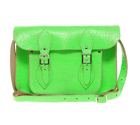 green neon Cambridge Satchel