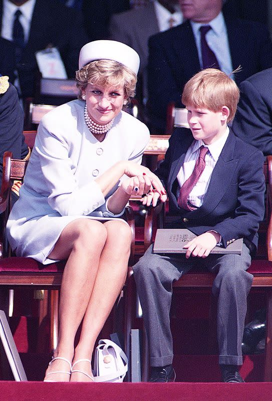 Britain's Princess Diana and son Prince Harry during a Heads of State Ceremony in Hyde Park, in London