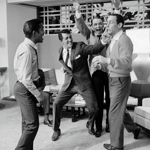 The Rat Pack: Sammy Davis Jr, Dean Martin, Frank Sinatra and Joey Biship on the set of 'Ocean's Eleven' in 1960 (Sid Avery/mptvimages.com)