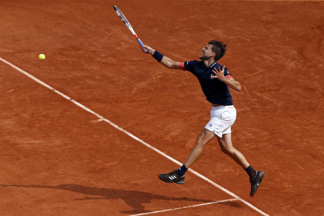 Austria's Dominic Thiem returns the ball to Spain's Rafael Nadal during the men's final match of the French Open tennis tournament at the Roland Garros stadium, Sunday, June 10, 2018 in Paris. (AP Photo/Thibault Camus)
