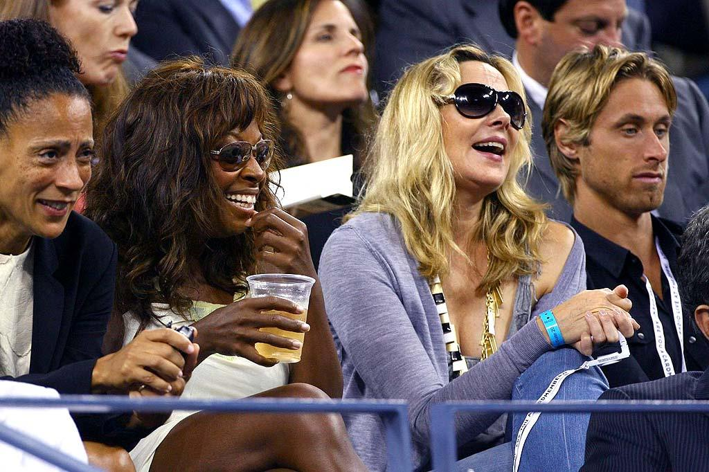 "Star Jones and Kim Cattrall share a laugh while watching Serena Williams defeat her sister Venus 7-6, 7-6. Juan Soliz/<a href=""http://www.pacificcoastnews.com/"" target=""new"">PacificCoastNews.com</a> - September 3, 2008"