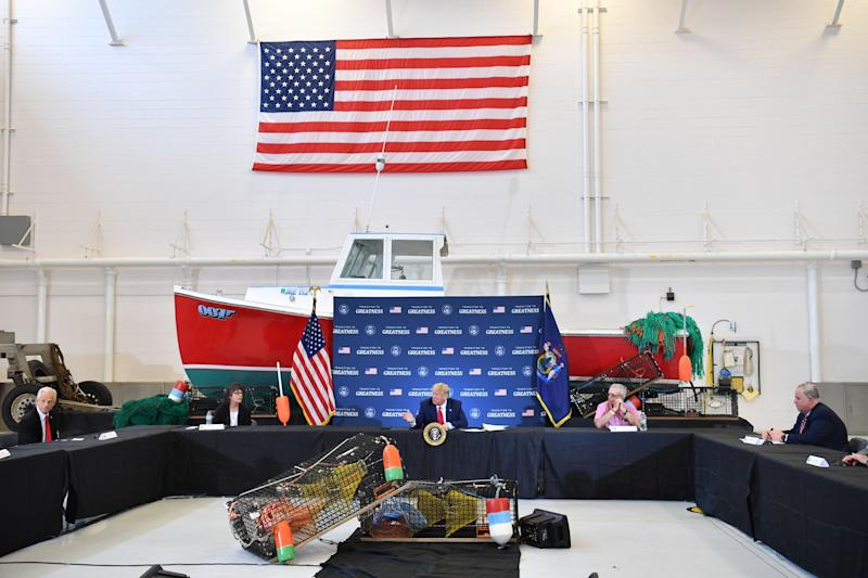 President Donald Trump joins a roundtable in support of commercial fishermen, in Bangor, Maine, on June 5. (Photo: NICHOLAS KAMM via Getty Images)