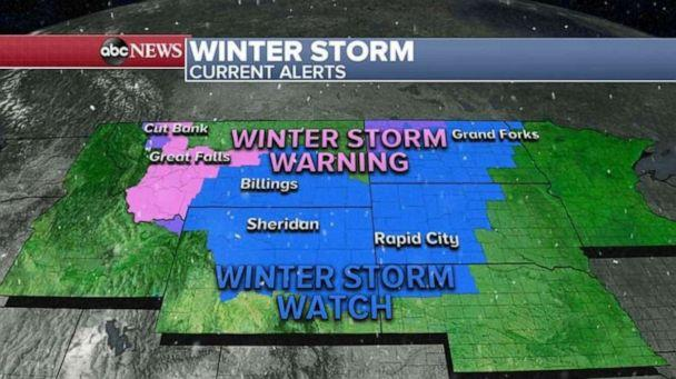 PHOTO: 7 states from the Rockies into the northern Plains are under Winter Storm Warnings and Watches for the developing storm. (ABC News)