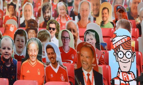 Nottingham Forest v Huddersfield Town - Sky Bet Championship<br>NOTTINGHAM, ENGLAND - JUNE 28: Where's Wally looks out amongst the cardboard fans profile pictures in the main stand ahead of the Sky Bet Championship match between Nottingham Forest and Huddersfield Town at on June 28, 2020 in Nottingham, England. (Photo by Laurence Griffiths/Getty Images)