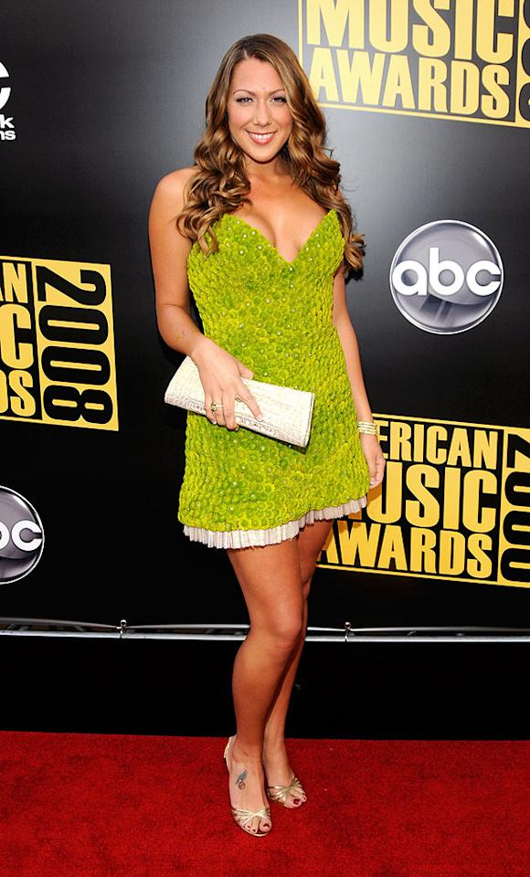 """We gotta give Colbie Caillat props for originality (her dress was made out of flowers), but girl, cover up! Steve Granitz/<a href=""""http://www.wireimage.com"""" target=""""new"""">WireImage.com</a> - November 23, 2008"""