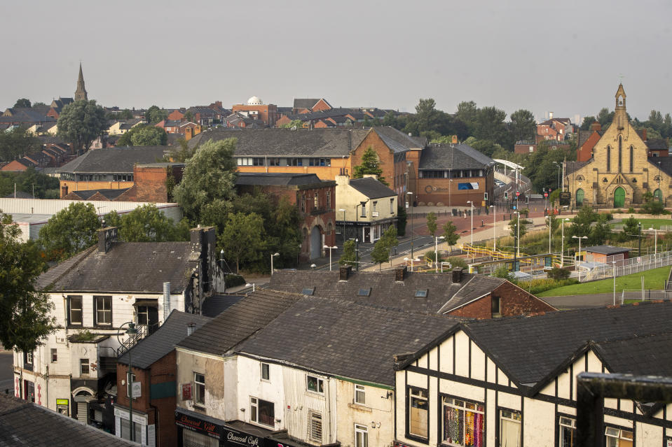 OLDHAM, ENGLAND - AUGUST 13: General view of Oldham town centre on August 13, 2020 in Oldham, England. The town is on the brink of a local lockdown after a surge in coronavirus cases has left it the worst affected area in England. (Photo by Anthony Devlin/Getty Images)