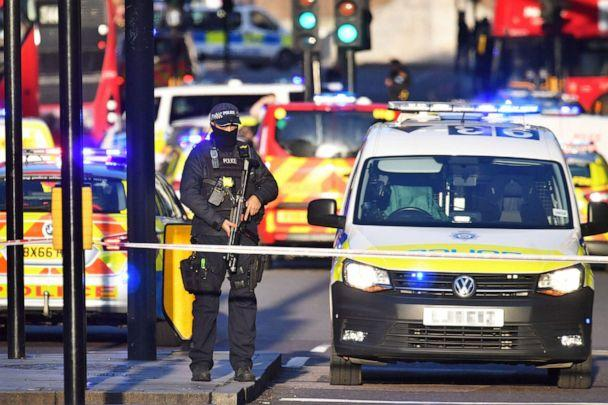 PHOTO: Armed police at the scene of an incident on London Bridge in central London following a police incident, Nov. 29, 2019. (Dominic Lipinski/PA via AP)