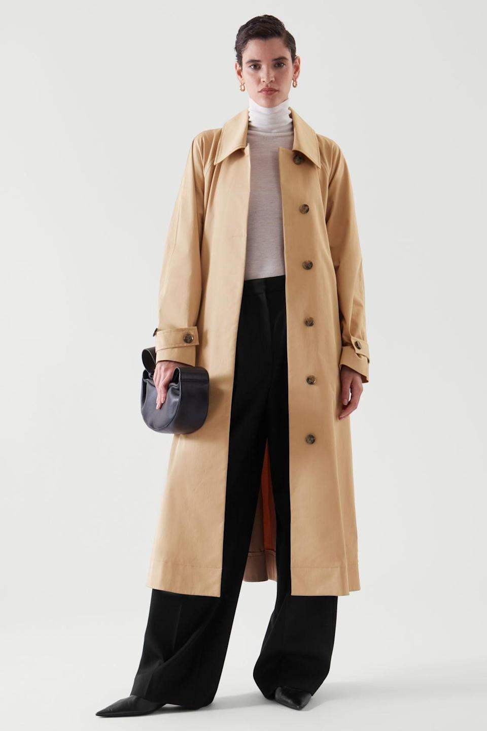 <p>Meeting the in-laws? Or looking to impress a first date? This <span>COS Oversize Trench Coat</span> ($250) will exude confidence and femininity. From the construction to the silhouette, it looks well-made.</p>