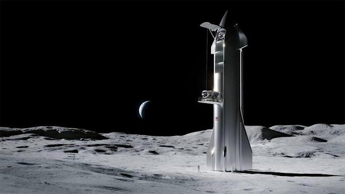 SpaceX won a $2.9 billion NASA contract in April to build a lunar lander for the agency's Artemis program based on a modified version of the company's Starship rocket. / Credit: NASA/SpaceX
