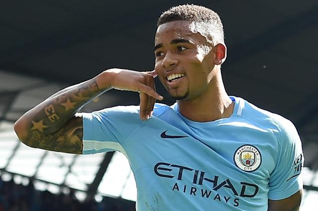 Manchester City's Gabriel Jesus celebrates after scoring their second goal during the English Premier League match against Liverpool at the Etihad Stadium in Manchester, on September 9, 2017 (AFP Photo/PAUL ELLIS )