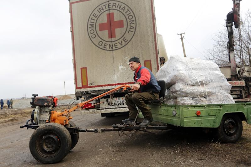 A resident transports wood briquettes received from the Red Cross in the village of Pischevik, eastern Ukraine's Donetsk region (AFP Photo/Aleksey Filippov)
